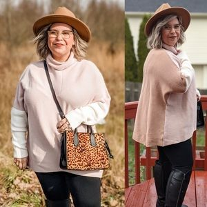 Muted Neutral Color block Sweater